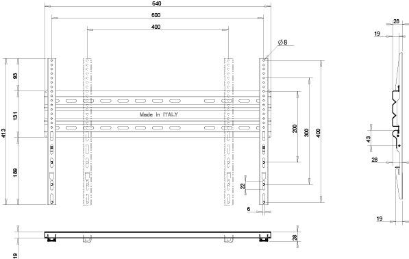 Стойка за стена OMB STRETCH 88 inch HORIZ-2