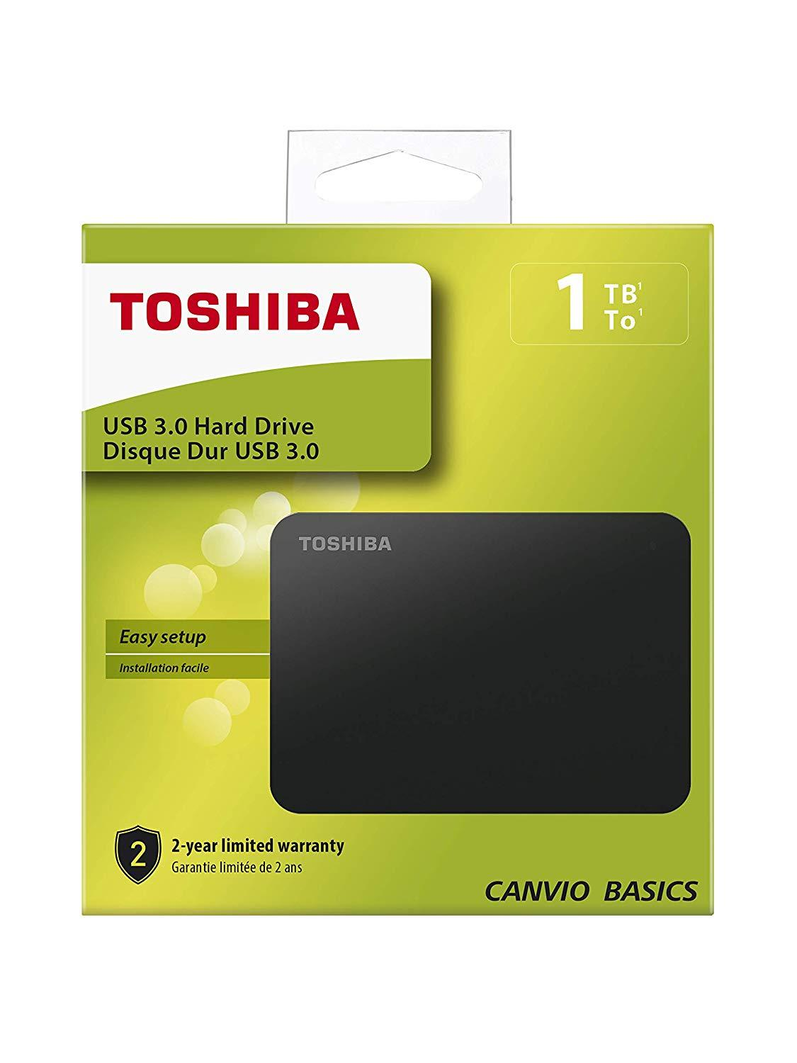Външен хард диск Toshiba Canvio Basics, 1TB, 2.5 HDD, USB 3.0-1