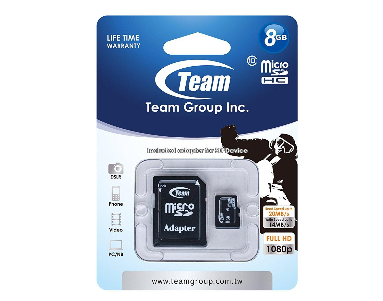 Карта памет TEAM micro SDHC, 8GB, Class 10 с SD адаптер-2
