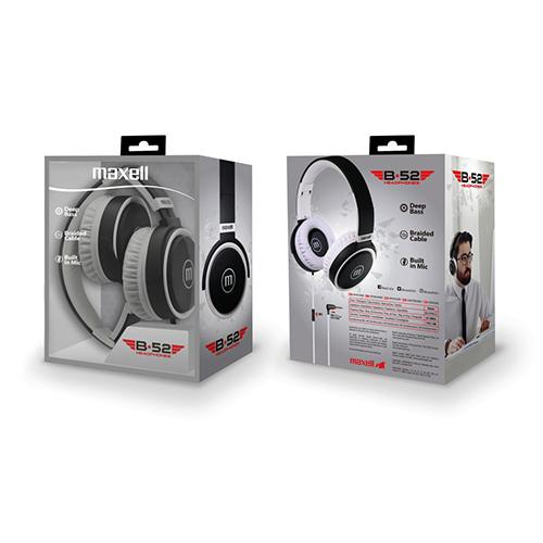Слушалки с микрофон  MAXELL B52 черно и бяло-2