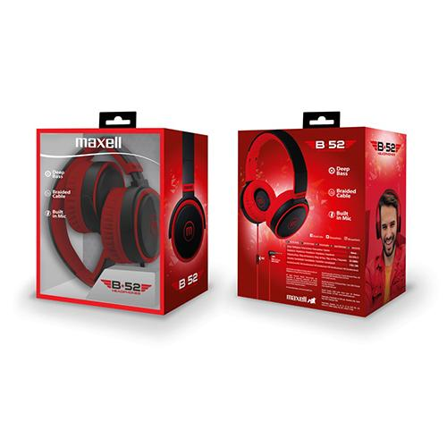 Слушалки с микрофон  MAXELL B52 черно и червено-2