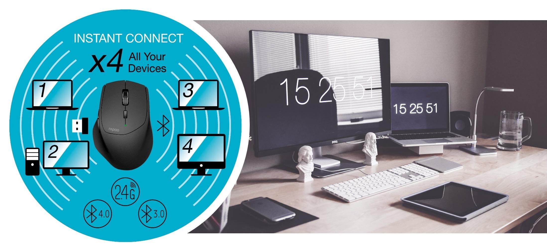 Безжична оптична мишка RAPOO MT550, Multi-mode, Bluetooth & 2.4Ghz, Черен-3