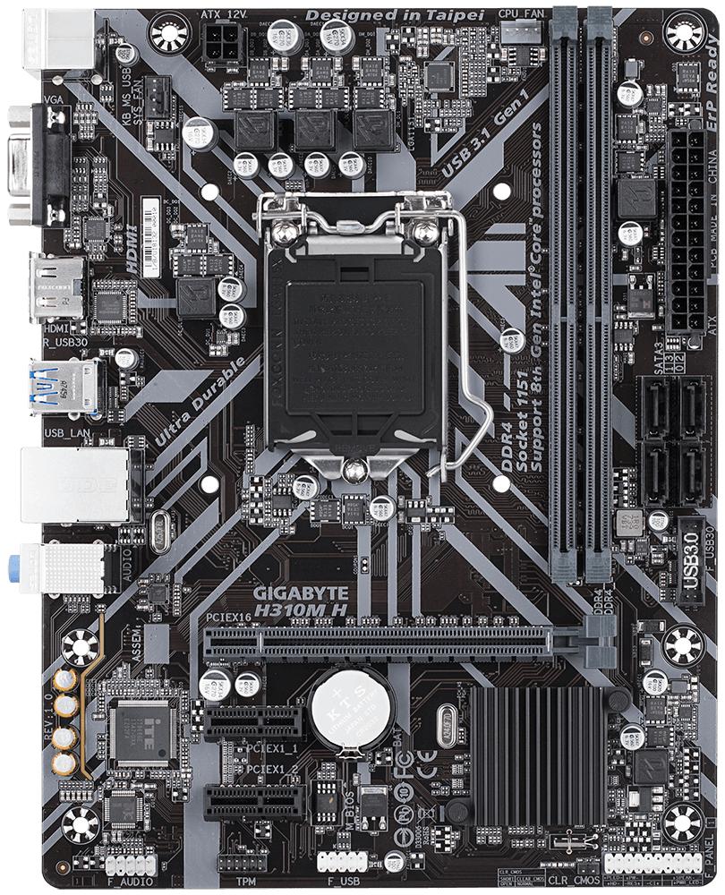 Дънна платка GIGABYTE H310M-H, Socket 1151 (300 Series), 2 x DDR4-2