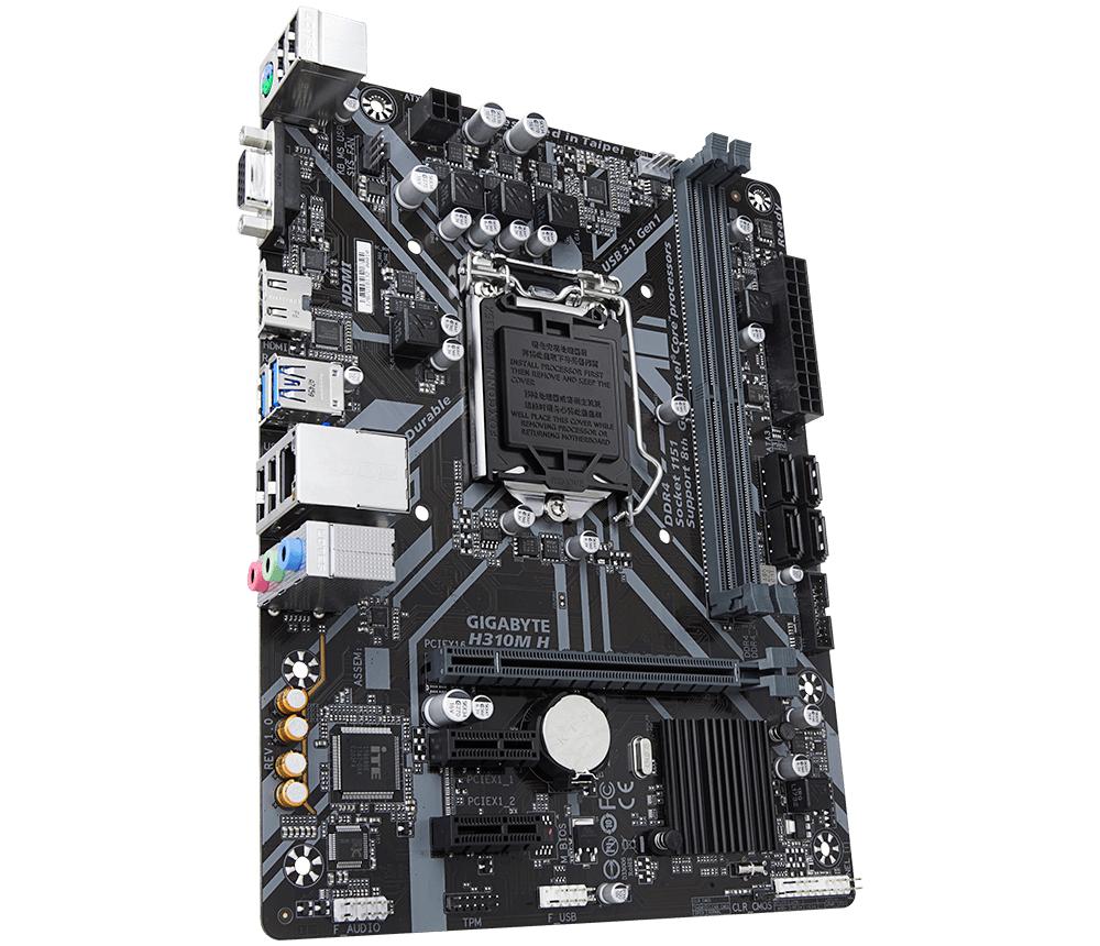 Дънна платка GIGABYTE H310M-H, Socket 1151 (300 Series), 2 x DDR4-3