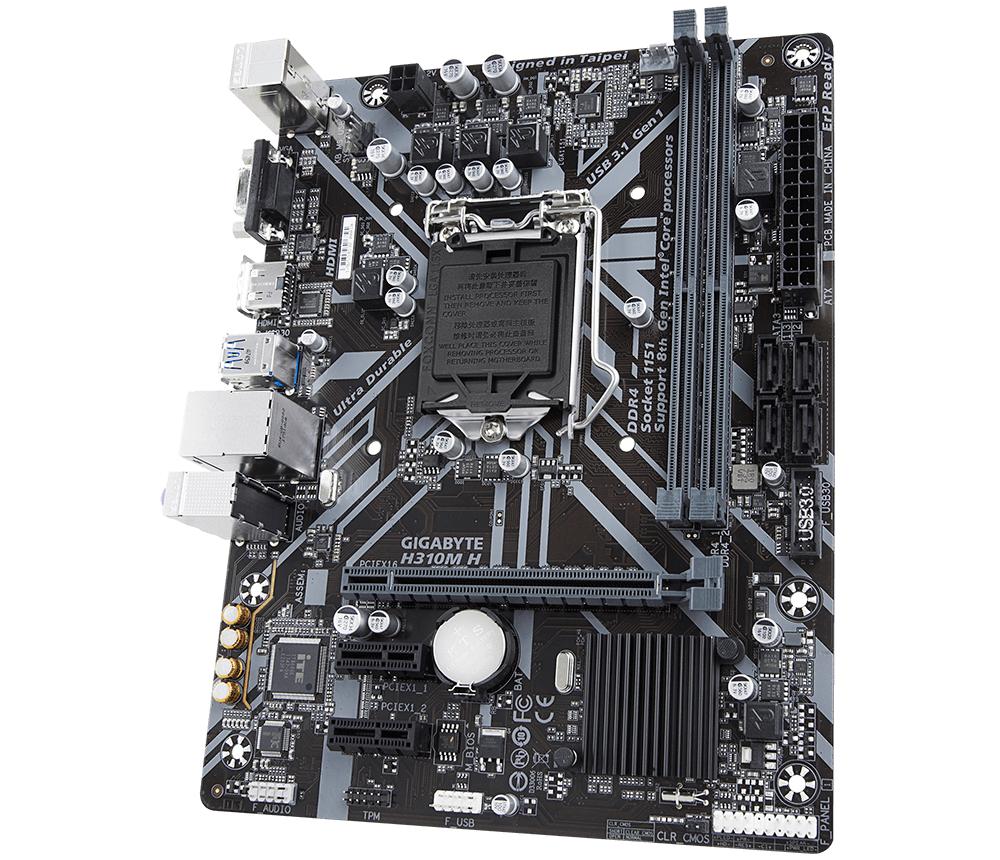Дънна платка GIGABYTE H310M-H, Socket 1151 (300 Series), 2 x DDR4-4
