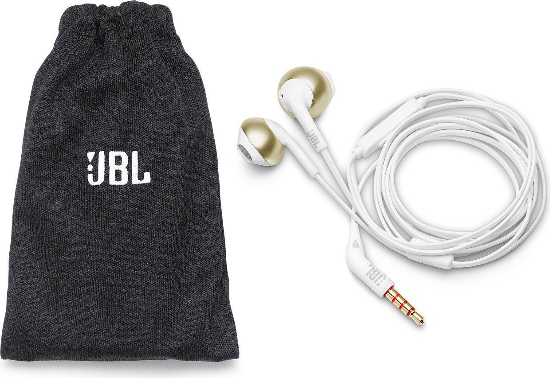 Слушалки тапи JBL T205, Бял/Златист-4