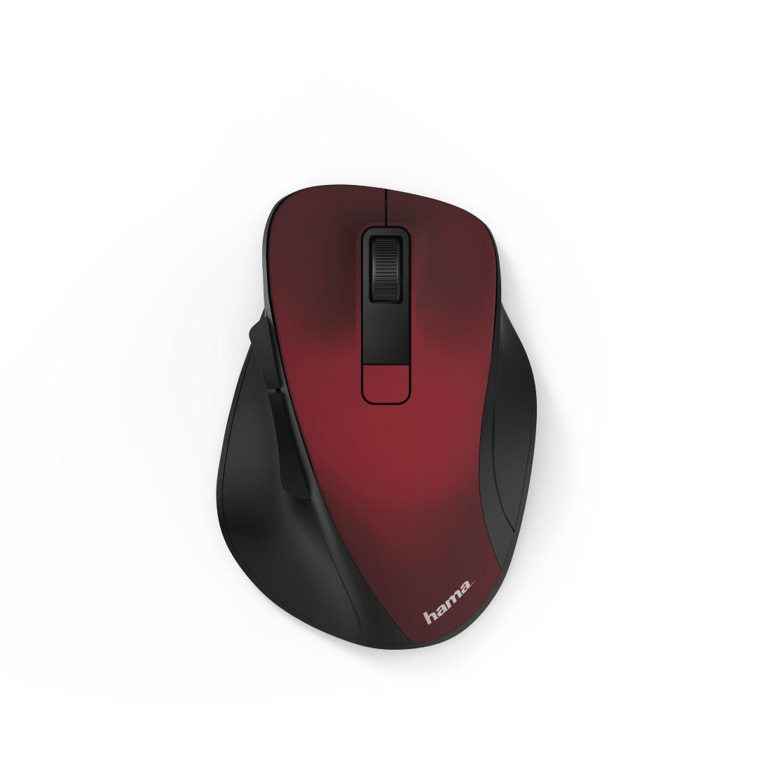 Безжична оптична мишка HAMA MW-500, USB, 1200/1600/800 dpi, безшумна, Червен/Черен-2