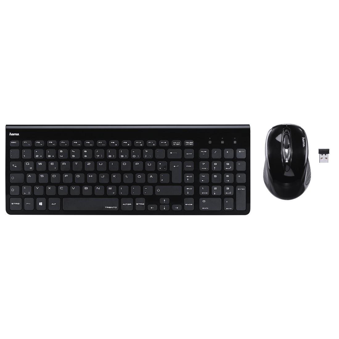 Комплект клавиатура и мишка HAMA Trento, Безжичен, Черен-2