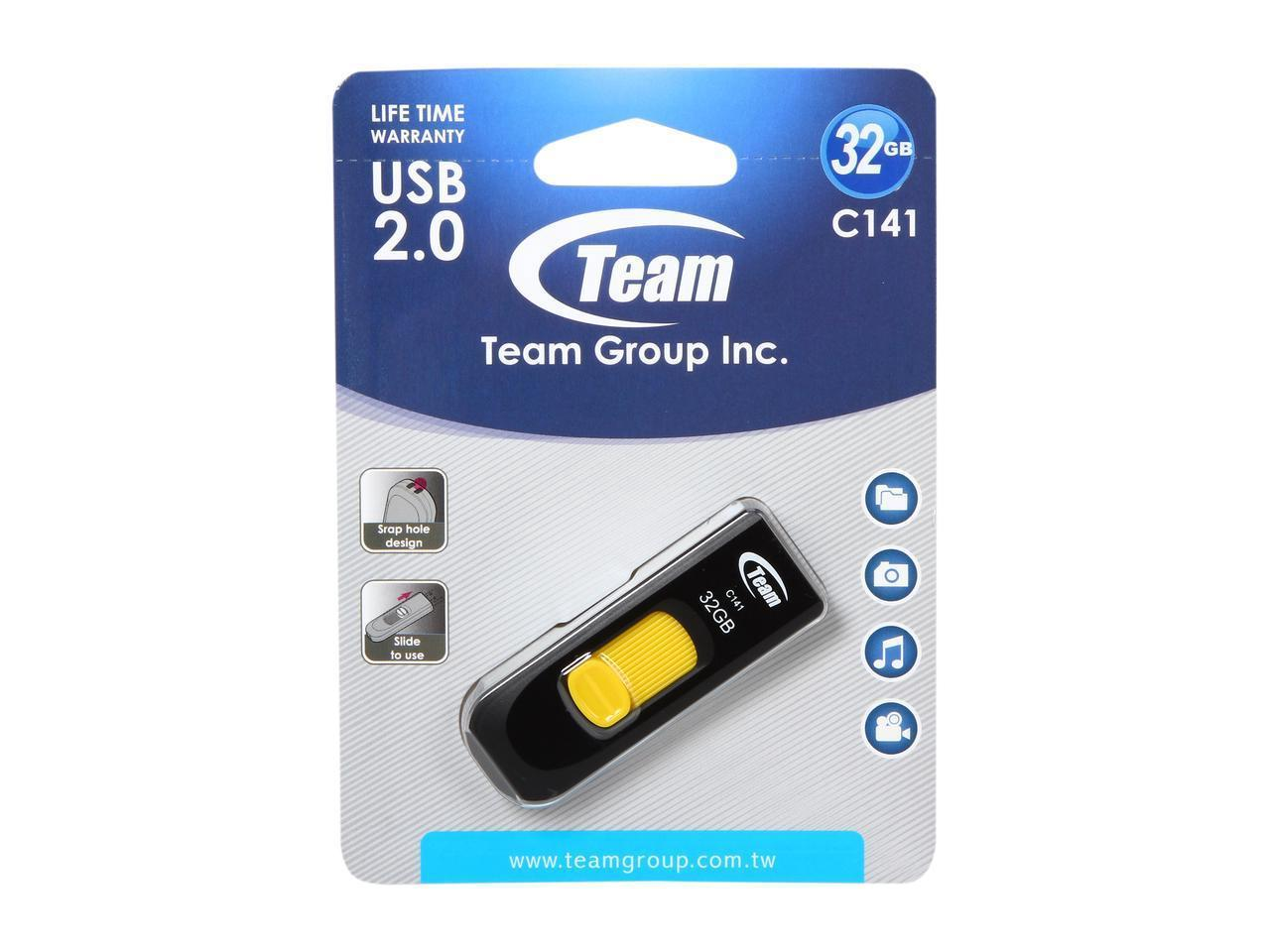 USB памет Team Group C141 32GB, USB 2.0, Жълт-2