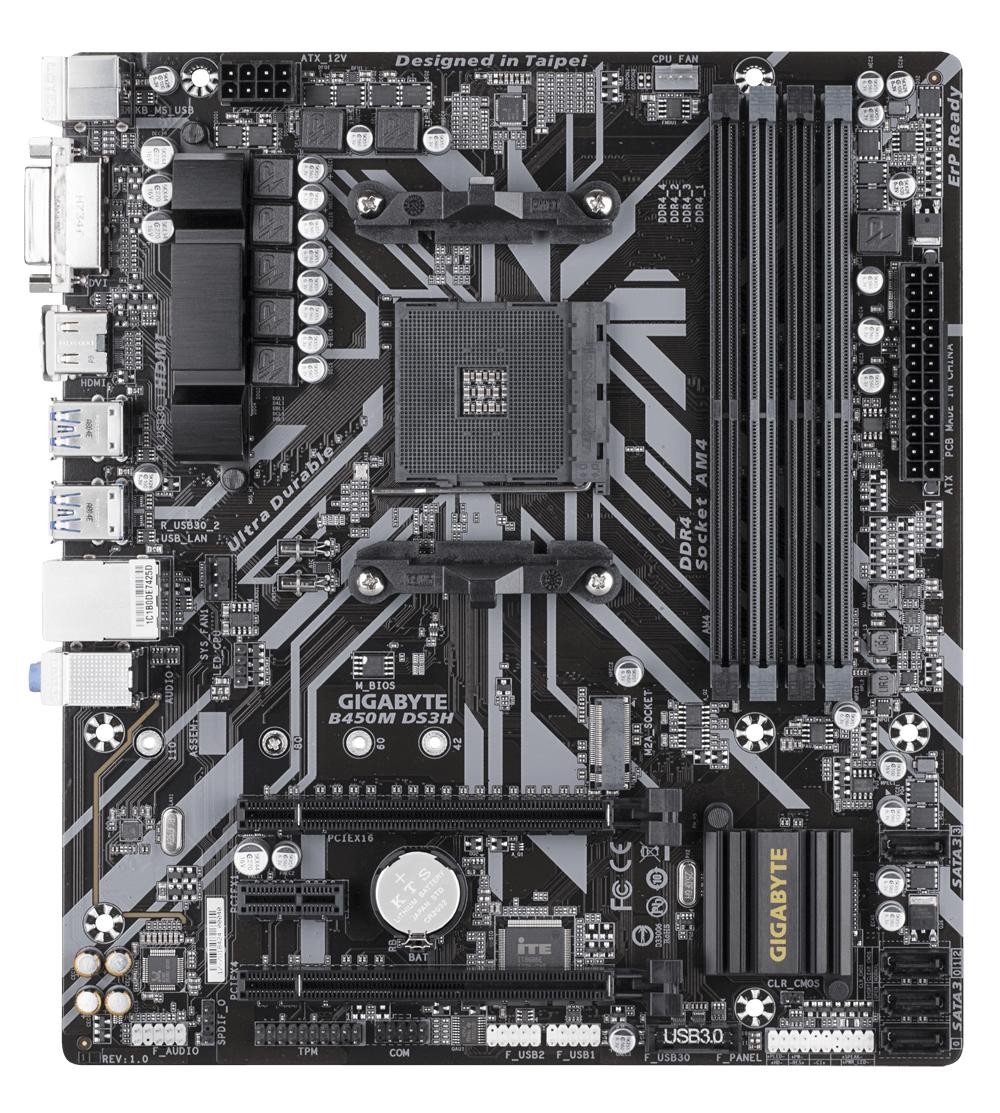 Дънна платка GIGABYTE B450M DS3H Socket AM4, 4 x DDR4, rev. 1.0-2