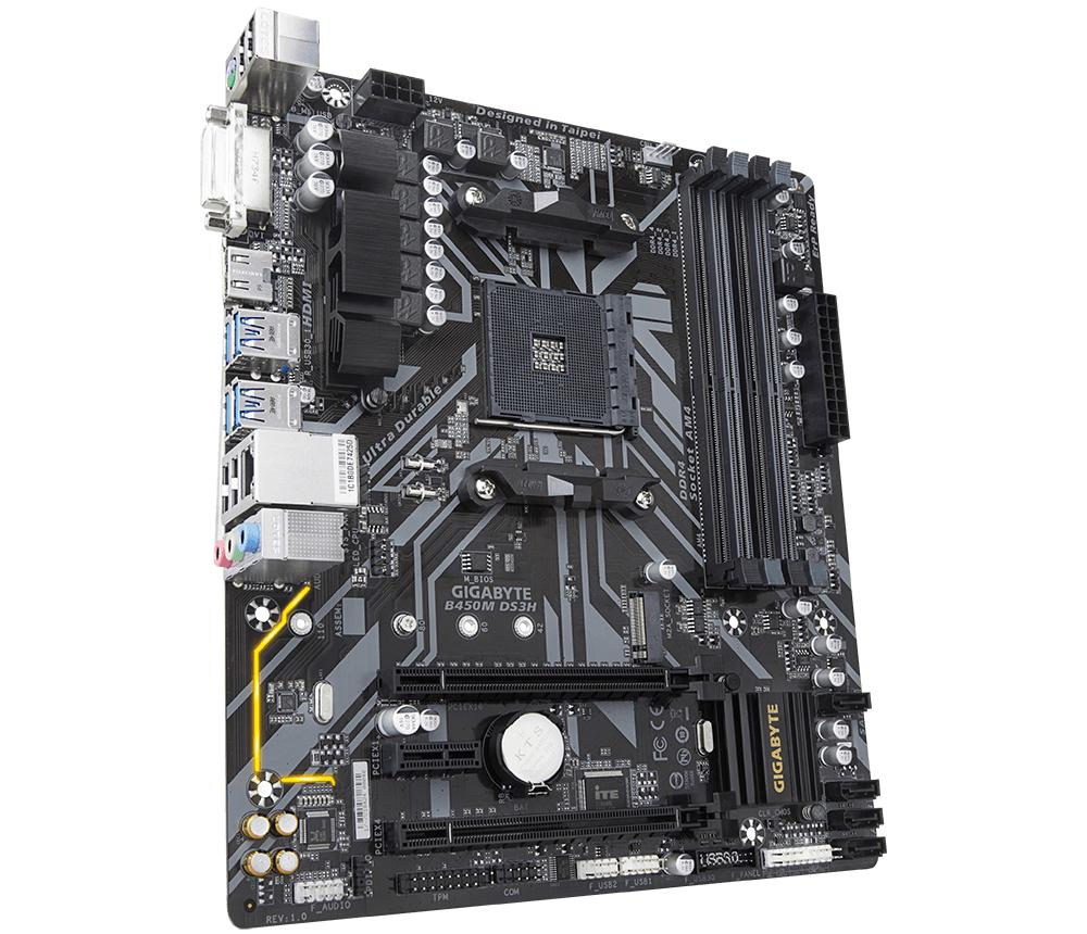 Дънна платка GIGABYTE B450M DS3H Socket AM4, 4 x DDR4, rev. 1.0-3