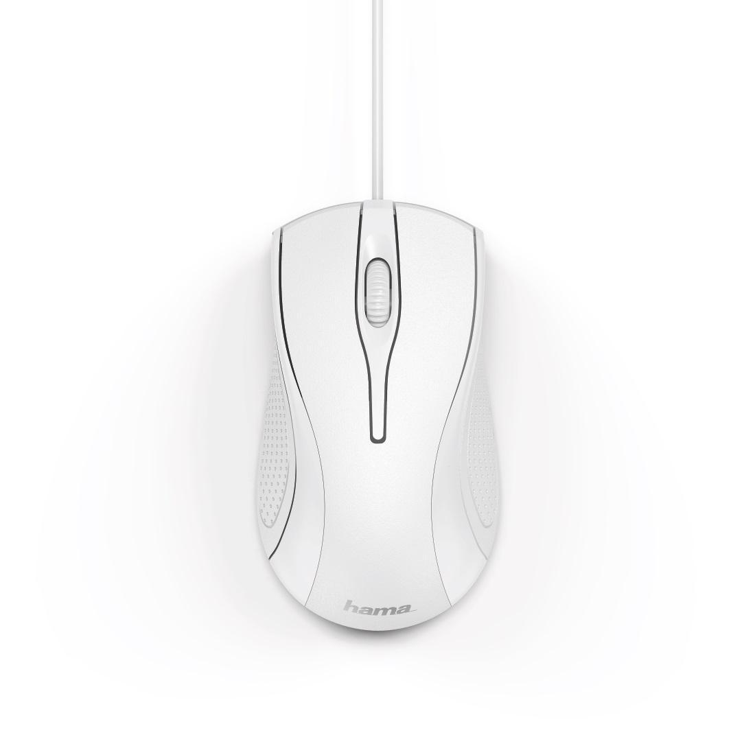 Оптична мишка HAMA MC-200, кабел 1.5 м, USB, 1200 dpi, 3 бутона, Бял-2