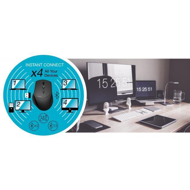 Безжична оптична мишка RAPOO M100 Silent, Multi-mode, безшумна, Черен-3