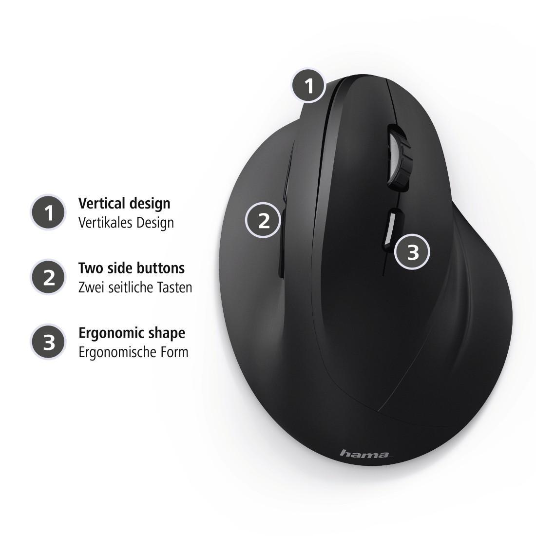 Жична ергономична мишка HAMA EMC-500, USB, 1000/1200/1400 dpi, Черен-4