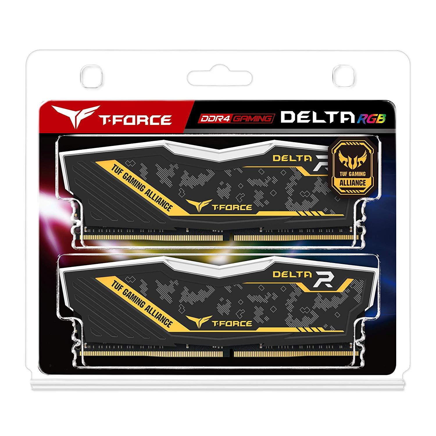 Памет Team Group Delta RGB TUF DDR4 - 16GB(2x8GB) 3200MHz, CL16-18-18-38 1.35V
