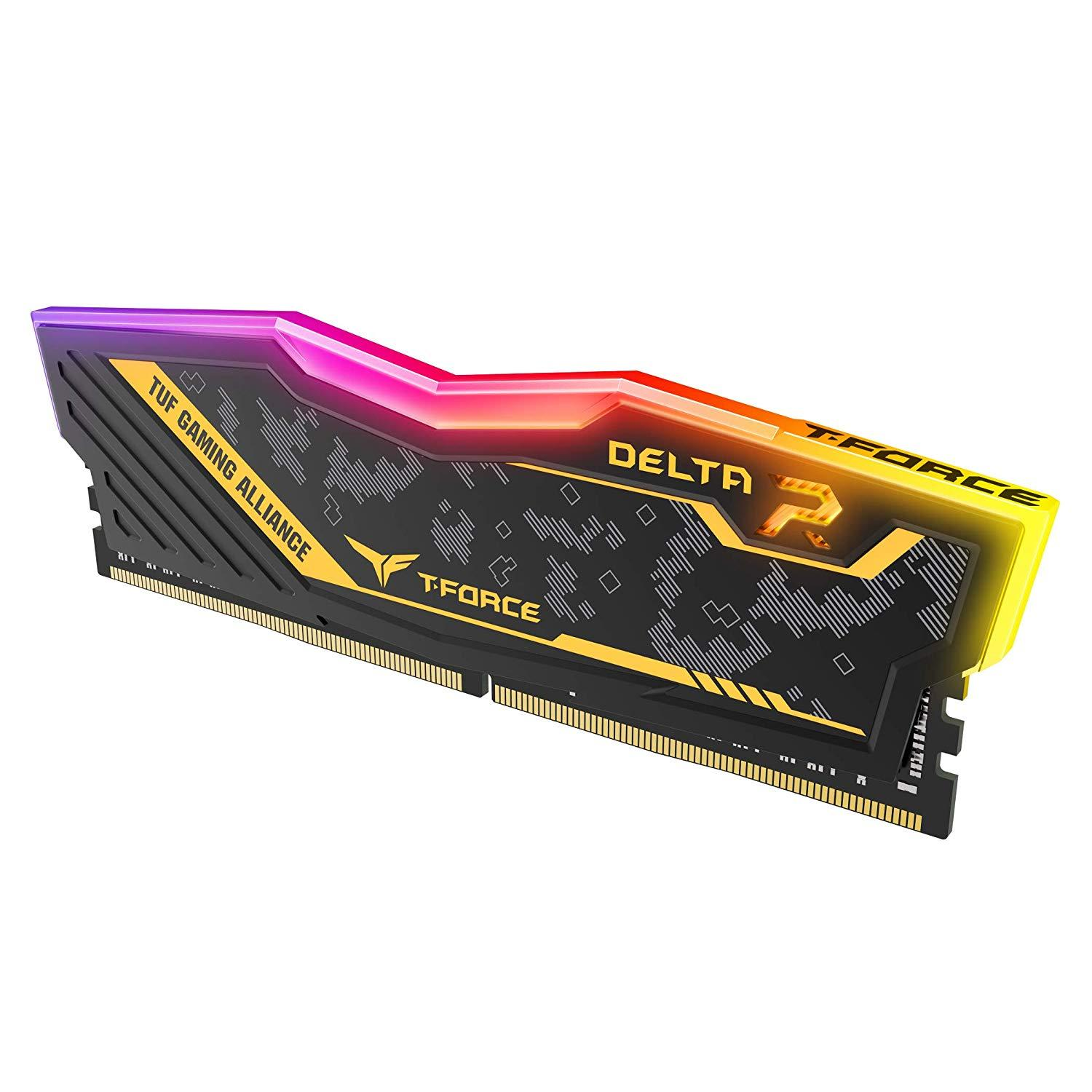 Памет Team Group Delta RGB TUF DDR4 - 16GB(2x8GB) 3200MHz, CL16-18-18-38 1.35V-2