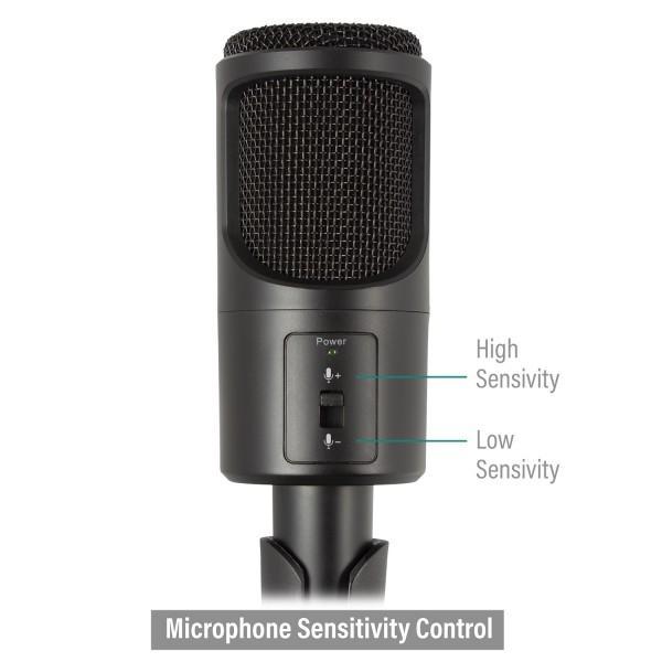 Настолен мултимедиен микрофон EWENT EW3552, филтър за шум, Черен-3