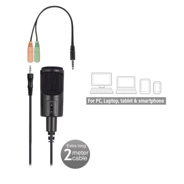 Настолен мултимедиен микрофон EWENT EW3552, филтър за шум, Черен-4