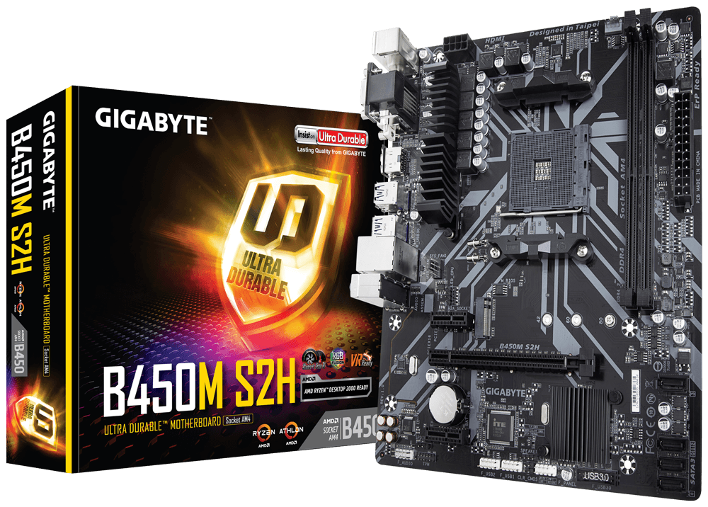 Дънна платка GIGABYTE B450M S2H Socket AM4, 2 x DDR4, rev. 1.0