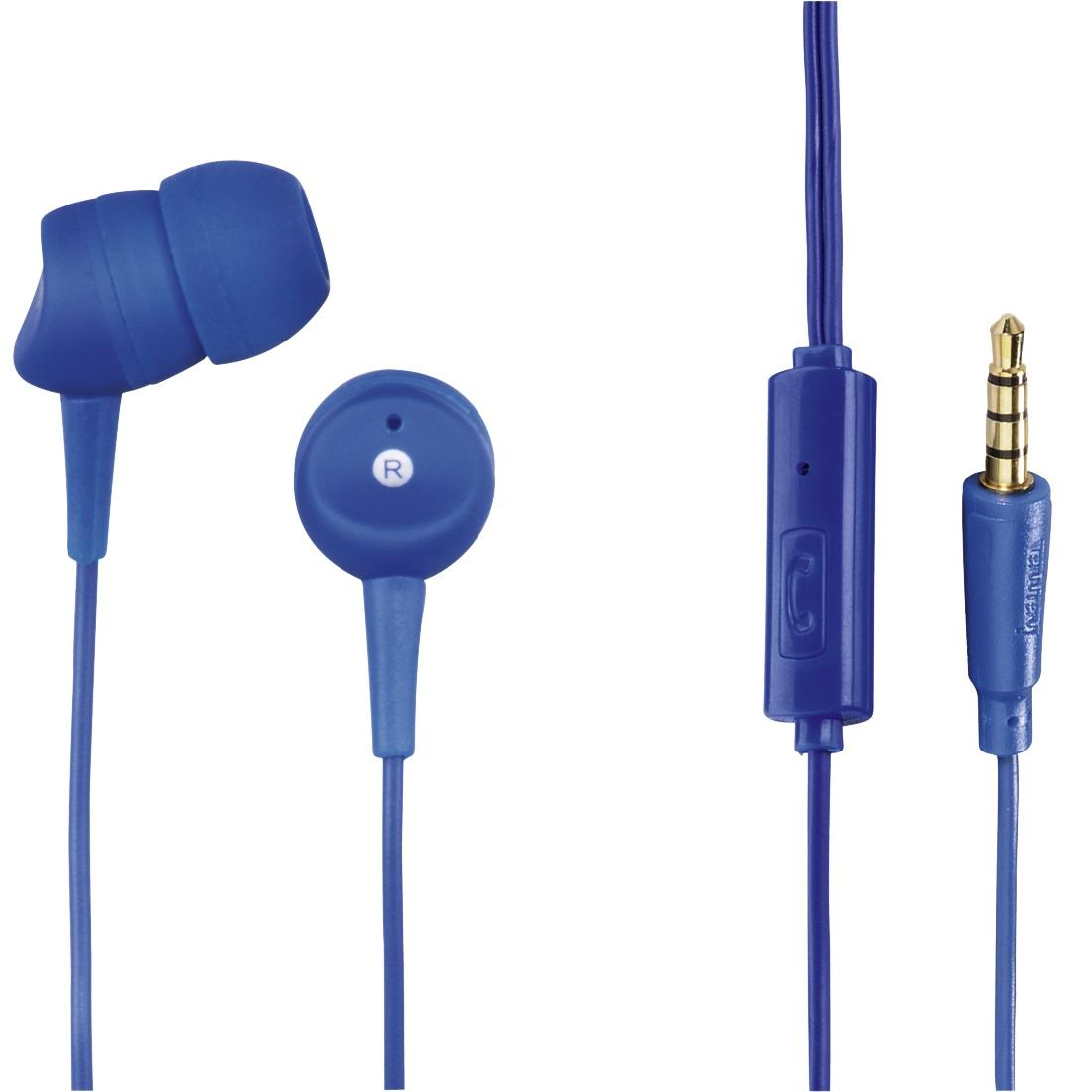 Слушалки HAMA Basic4Phone, Микрофон, In-Ear, Син