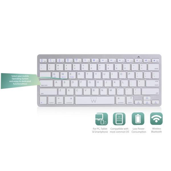 Bluetooth клавиатура Ewent EW3163, за компютри/таблети/смартфони, (Qwerty), Бял-2