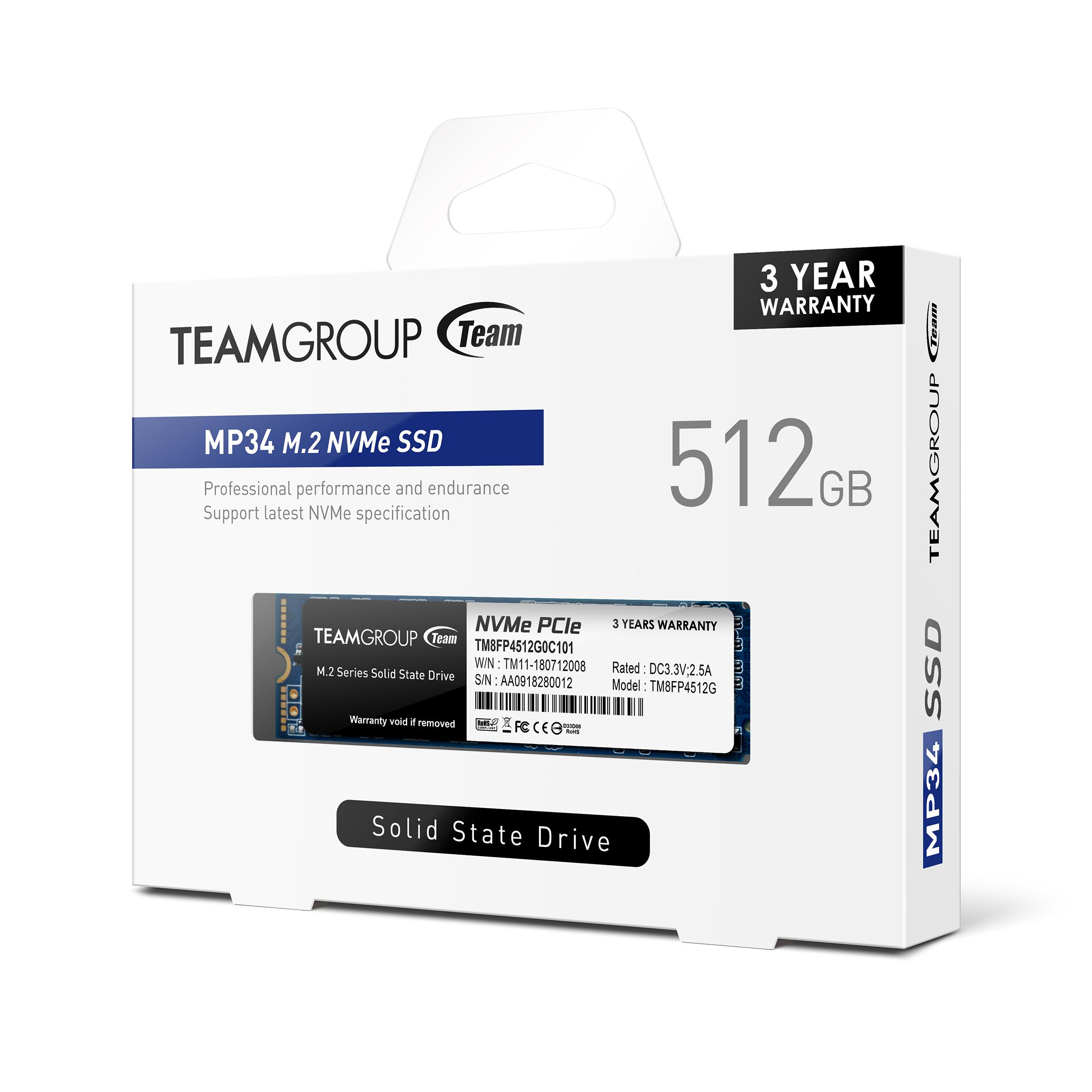 Solid State Drive (SSD) Team Group MP34 M.2 2280 512GB PCI-e 3.0 x4 NVMe