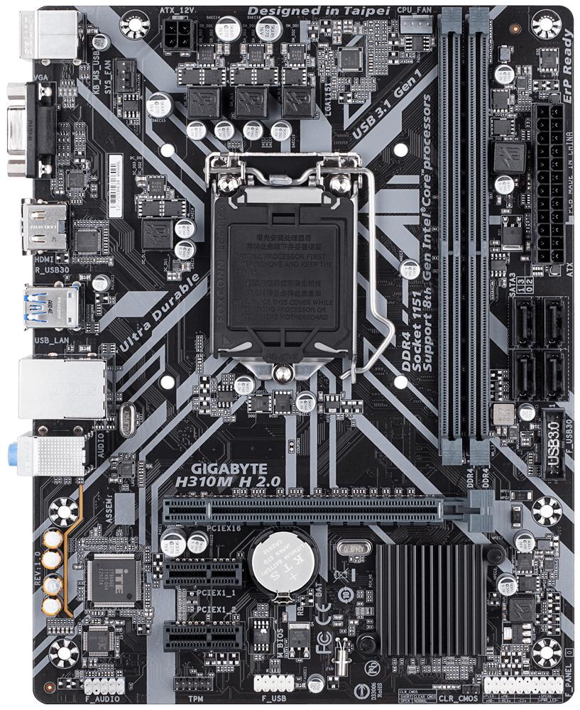 Дънна платка GIGABYTE H310M-H 2.0, Socket 1151 (300 Series), 2 x DDR4-2