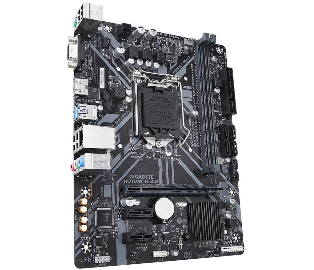 Дънна платка GIGABYTE H310M-H 2.0, Socket 1151 (300 Series), 2 x DDR4-3