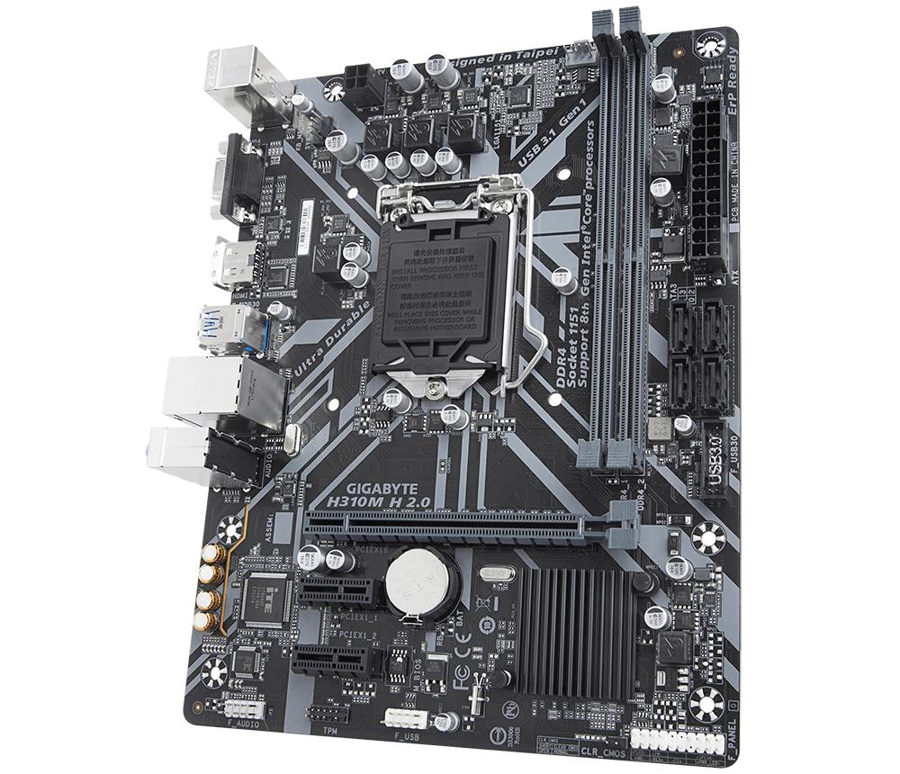 Дънна платка GIGABYTE H310M-H 2.0, Socket 1151 (300 Series), 2 x DDR4-4