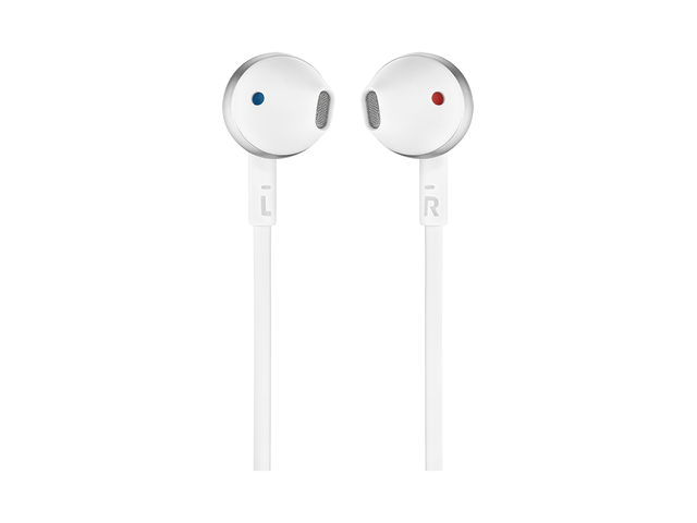 Слушалки тапи JBL T205, Бял/Сребрист