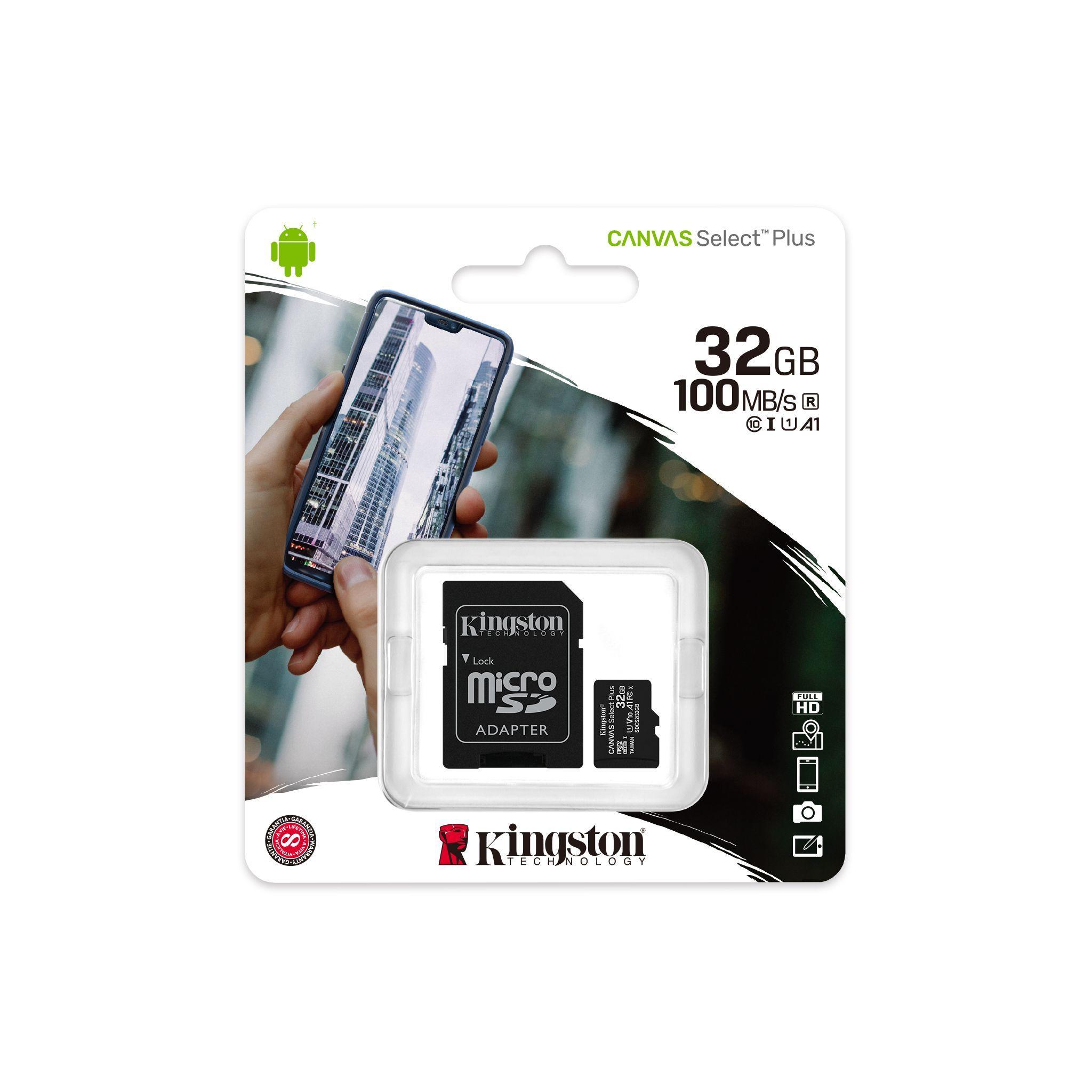 Карта памет Kingston Canvas Select Plus  microSDHC 32GB, Class 10 UHS-I