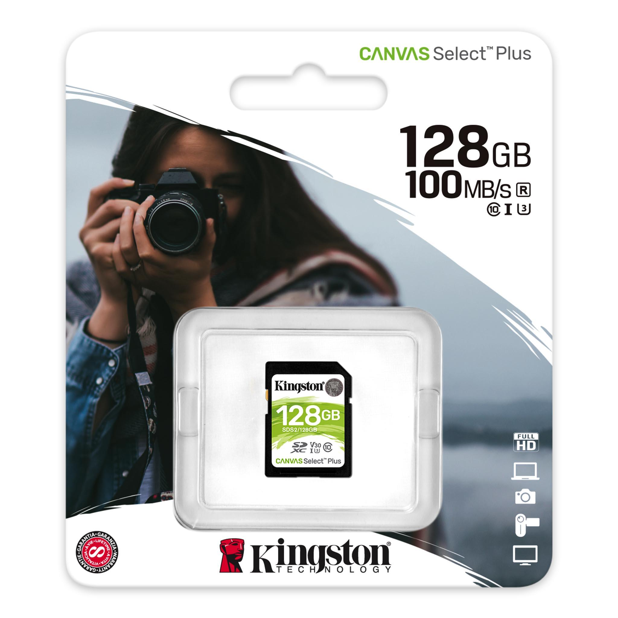 Карта памет Kingston Canvas Select Plus SD 128GB, Class 10 UHS-I