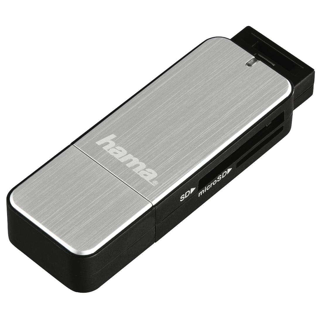 Четец за карти HAMA 123900, USB 3.0, SD/microSD, сребрист