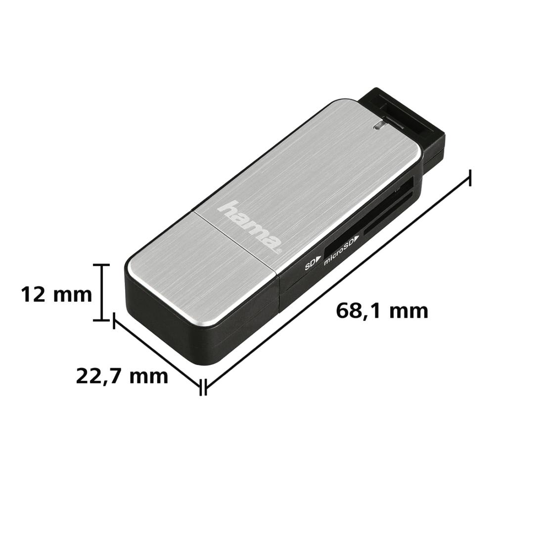 Четец за карти HAMA 123900, USB 3.0, SD/microSD, сребрист-2