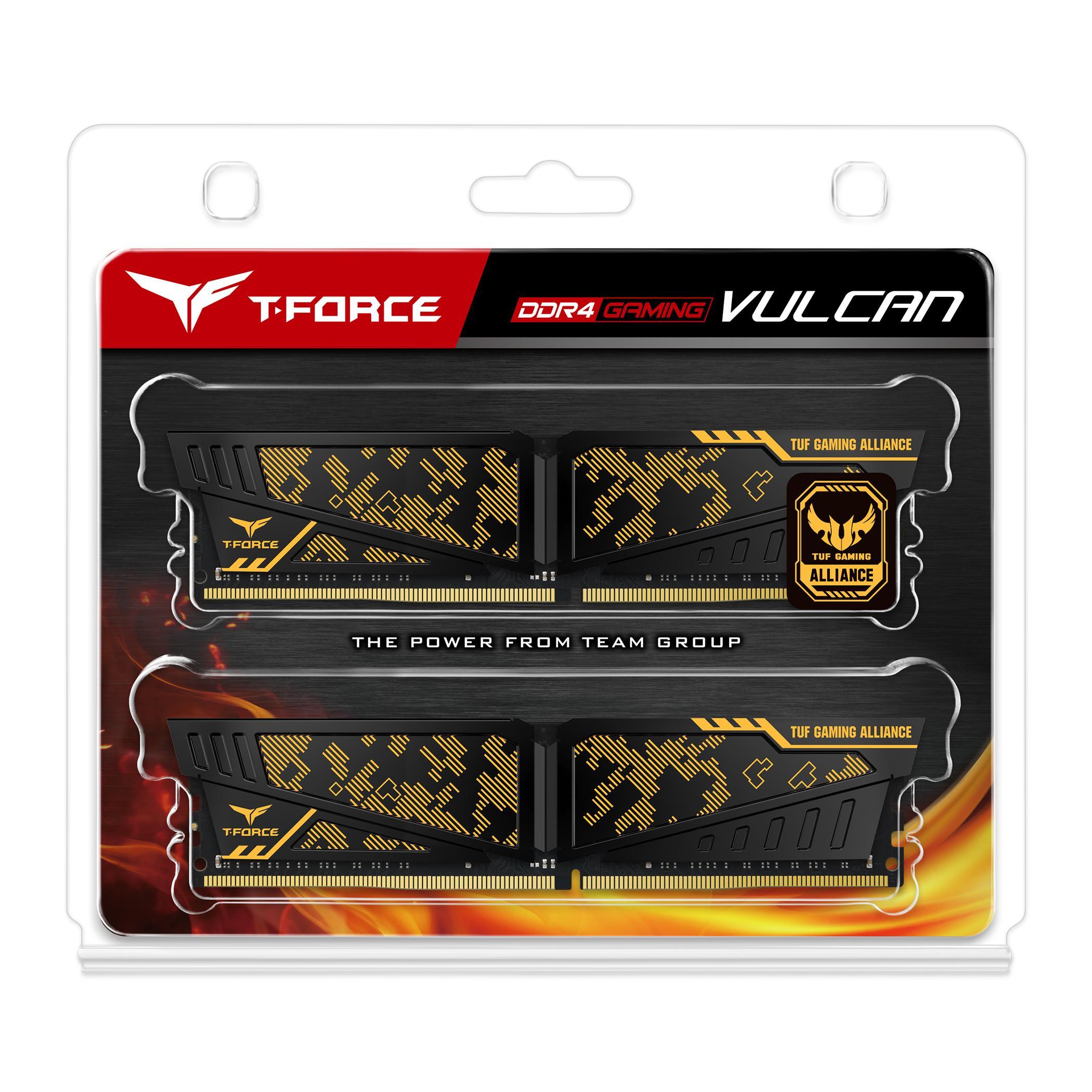 Памет Team Group T-Force Vulcan TUF, DDR4 - 16GB(2x8GB), 3600MHz, CL19-19-19-39, 1.35V-2