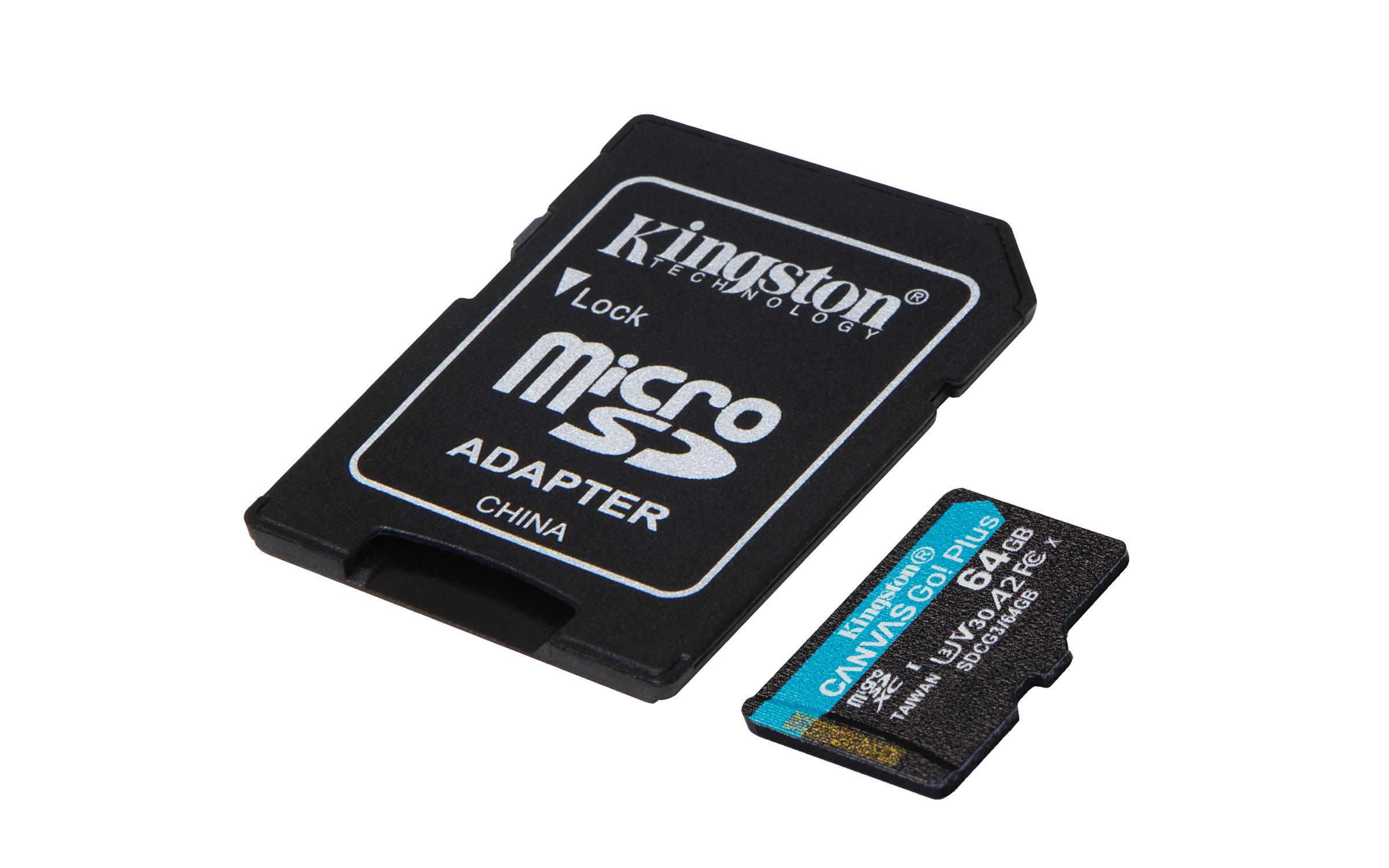 Карта памет Kingston Canvas Go! Plus, 64GB, UHS-I, Class 10, U3, V30, A2, Адаптер-2