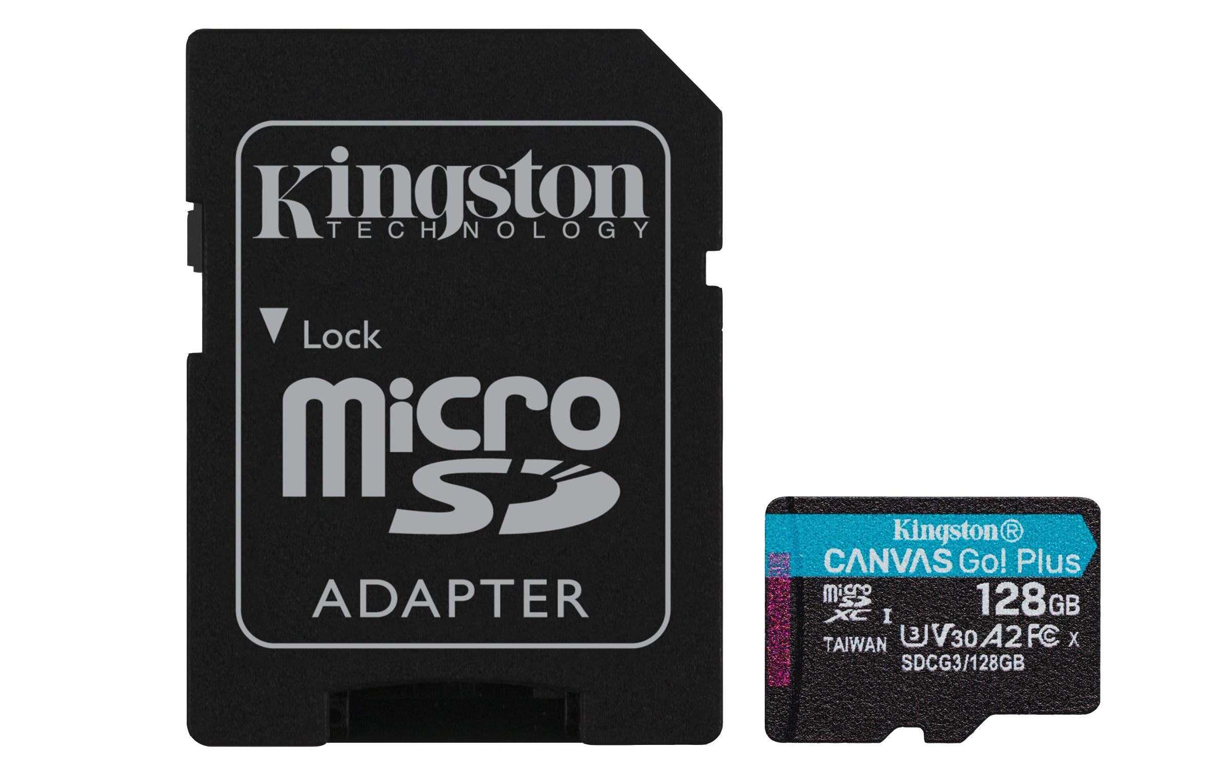 Карта памет Kingston Canvas Go! Plus, 128GB, UHS-I, Class 10, U3, V30, A2, Адаптер