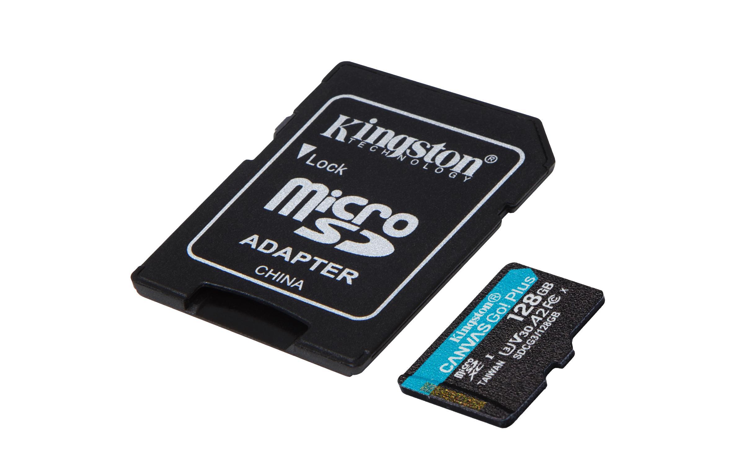 Карта памет Kingston Canvas Go! Plus, 128GB, UHS-I, Class 10, U3, V30, A2, Адаптер-2