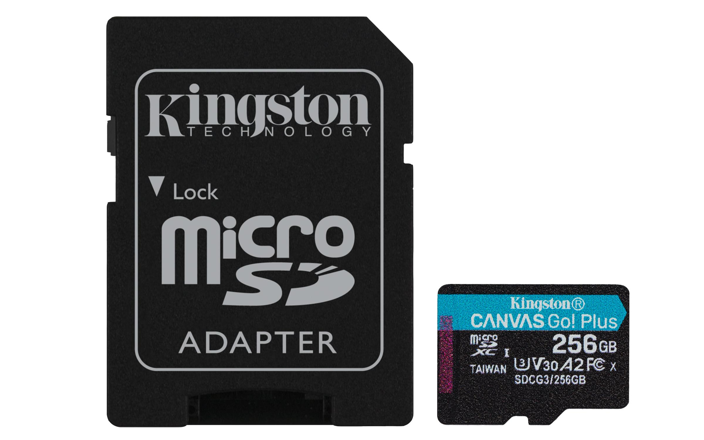 Карта памет Kingston Canvas Go! Plus, 256GB, UHS-I, Class 10, U3, V30, A2, Адаптер