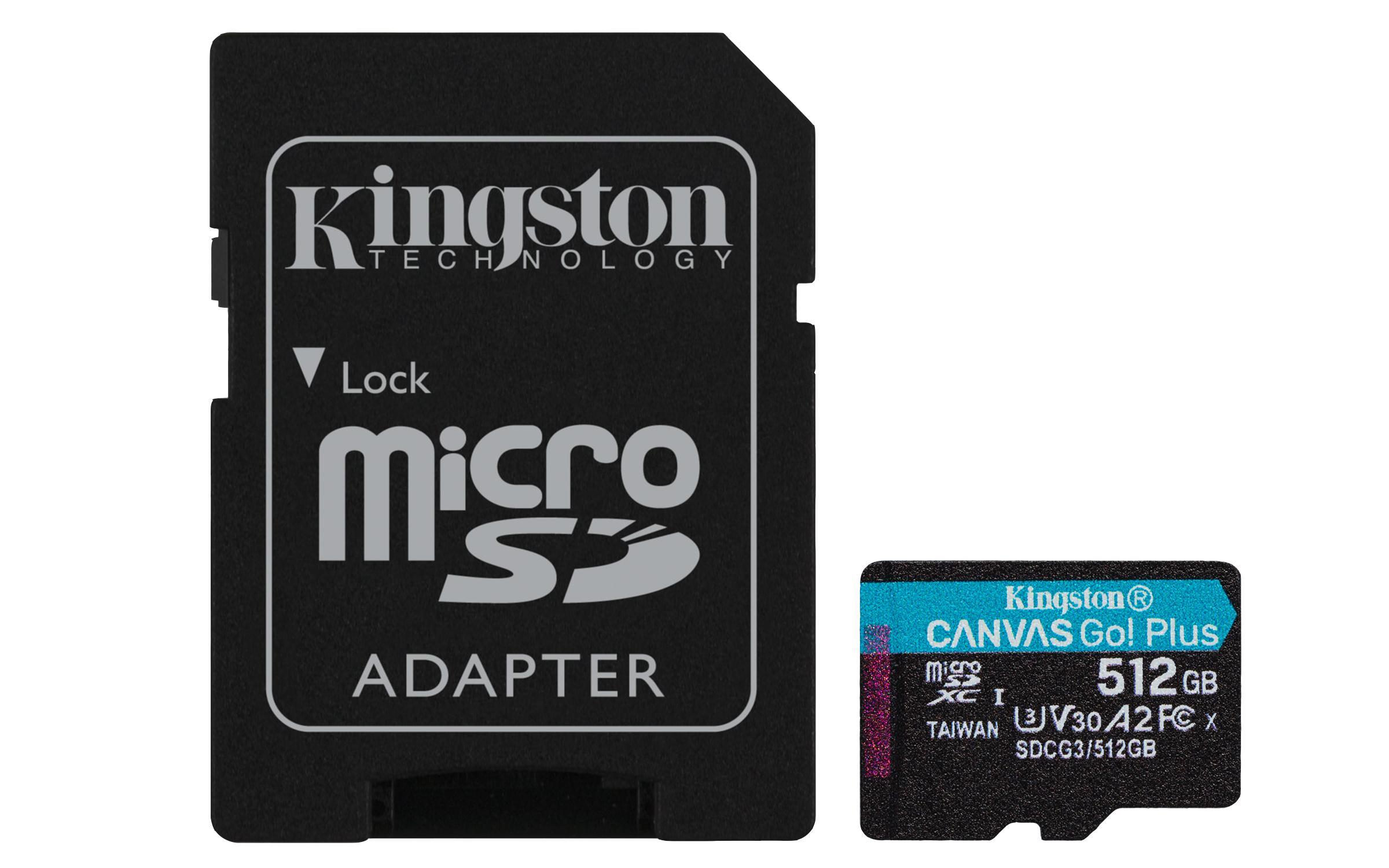 Карта памет Kingston Canvas Go! Plus, 512GB, UHS-I, Class 10, U3, V30, A2, Адаптер