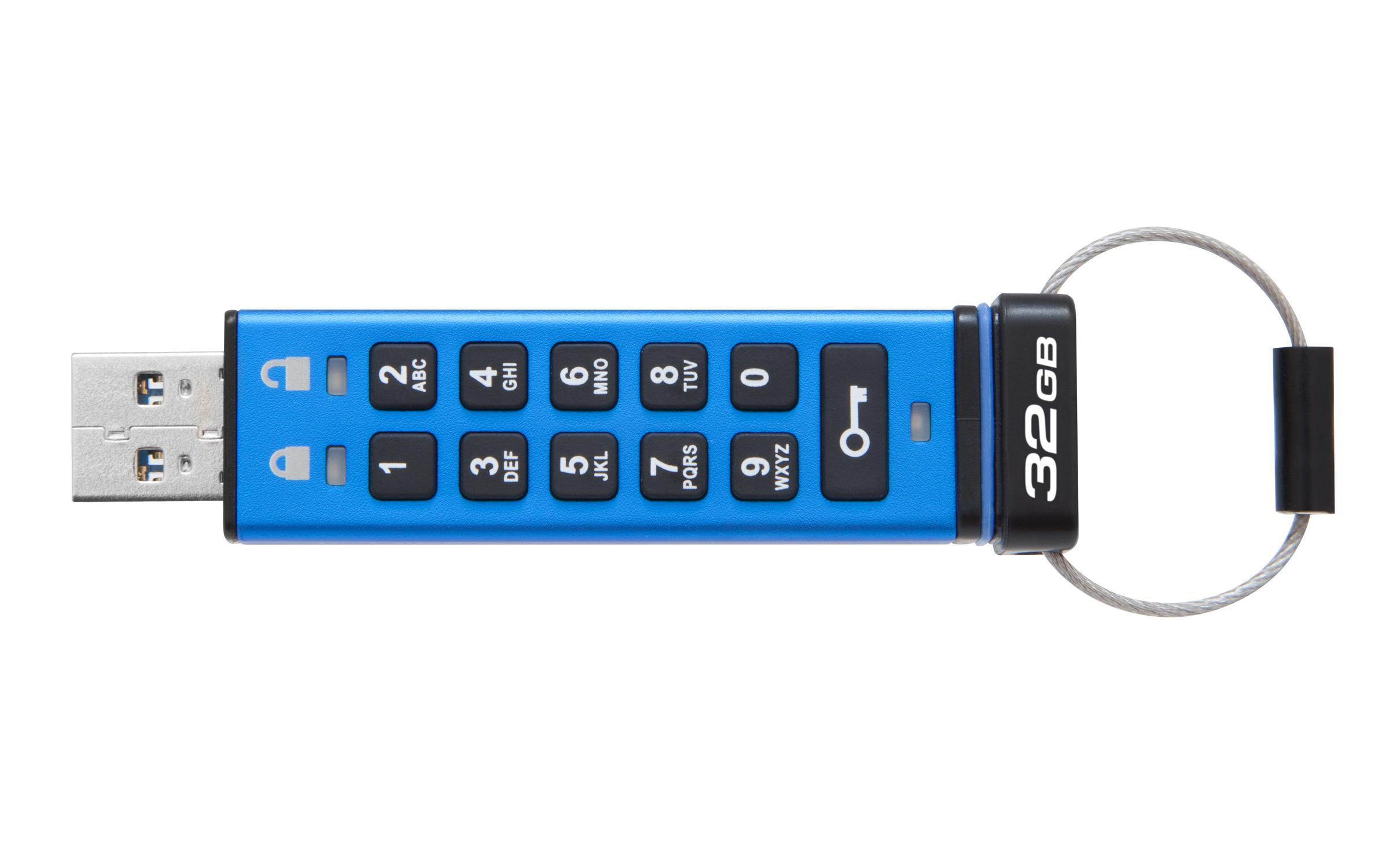 USB памет KINGSTON DataTraveler 2000, 32GB, USB 3.1, хардуерно криптиране, Син