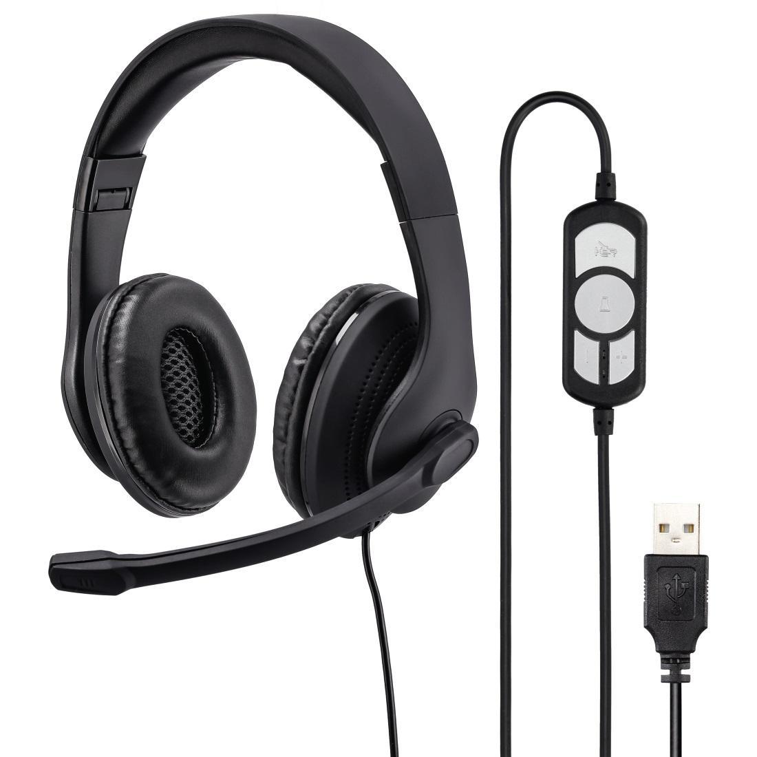 Слушалки с микрофон HAMA HS-USB300, стерео, USB, Черен