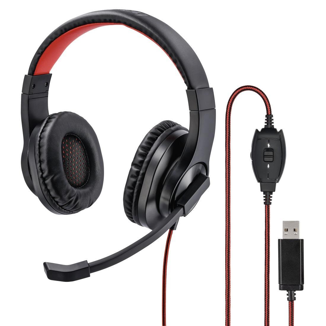 Слушалки с микрофон HAMA HS-USB400, стерео, USB, Черен