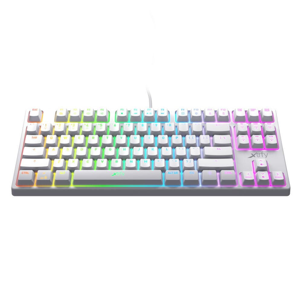 Геймърскa механична клавиатура Xtrfy K4 TKL White RGB Kailh Red Switch, US Layout