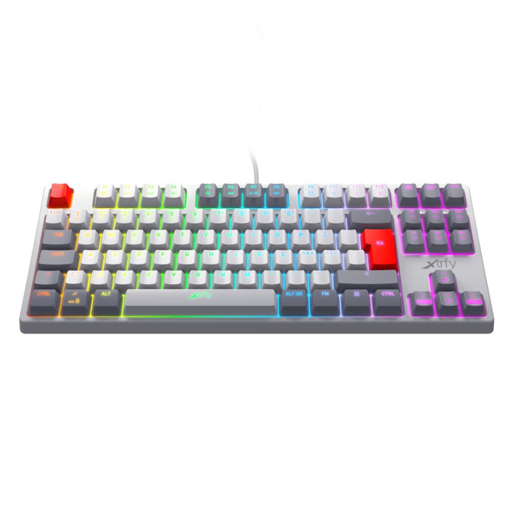 Геймърскa механична клавиатура Xtrfy K4 TKL RETRO RGB Kailh Red Switch, US Layout