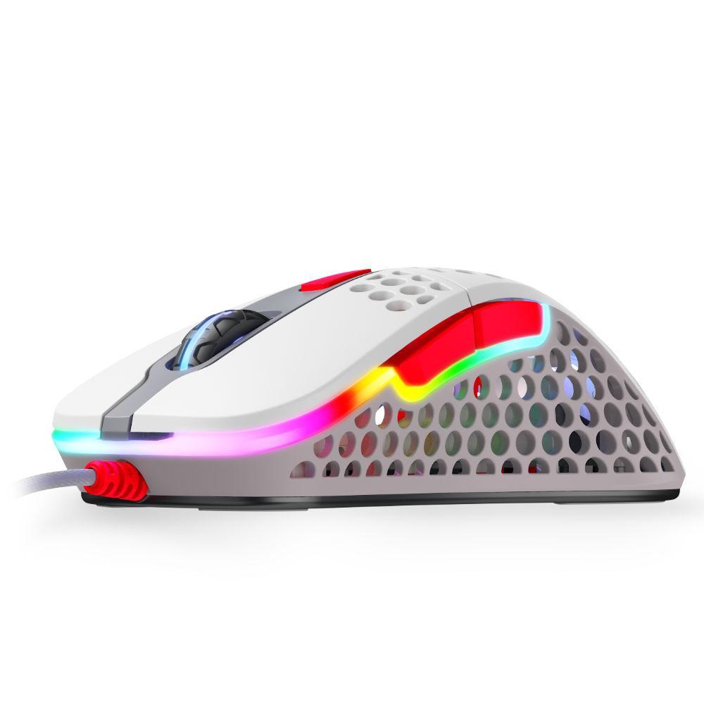 Геймърска мишка Xtrfy M4 Retro, RGB, Бял/Сив/Червен
