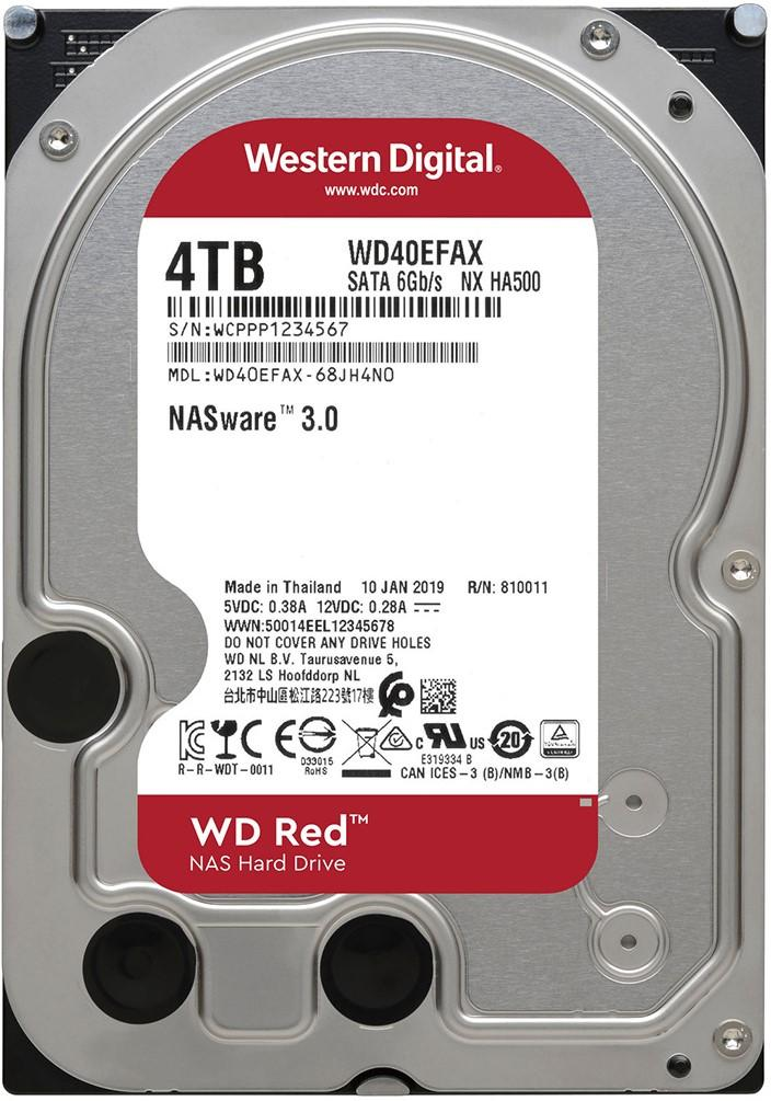 Хард диск WD RED, 4000 GB, 5400RPM, 256MB, SATA 3, WD40EFAX