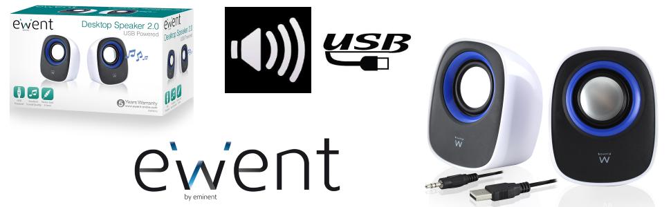 Тонколонки Ewent EW3513, USB, 2.0, 2.5W x 2, Бял-2