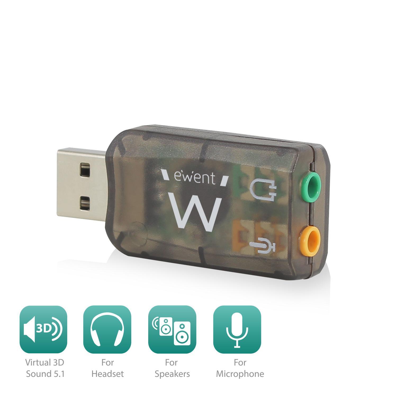Звукова карта Ewent EW3751, 5.1, USB 2.0, черен-2