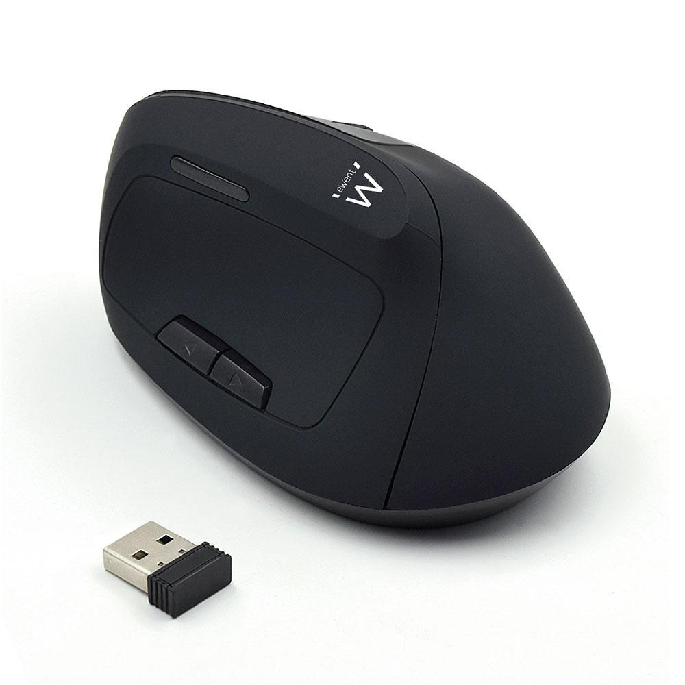 Оптична мишка Ewent EW3158, Безжична, Вертикална, 800/1200/1600 dpi, 5 бутона, Черна